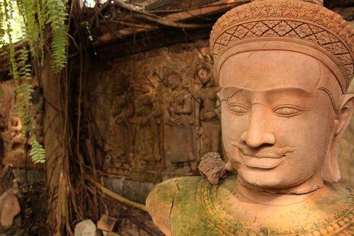 art million khmer clay sculpture