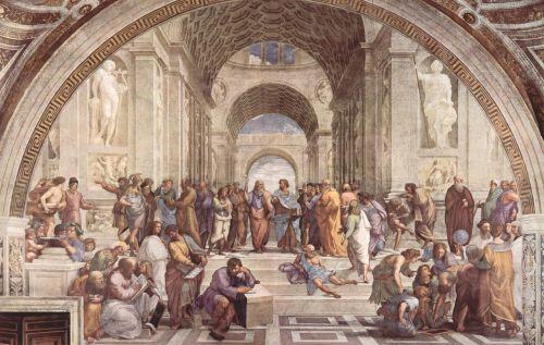 Atėnų meno mokykla,rafaël,Italijos dailininkas,freska,1509-1512,dažymas,italų didysis renesansas,tai popiežius jules,Roma,italy,Vatikano rūmai,parašo kambarys,la stanza,Vatikano muziejai,statulos,simbolinė freska,pagrindiniai skaičiai,filosofija,senovės mintis,krikščioniškas mintis renesansas,vyrai,studentai,tikėjimas,religija,menas,meno kūriniai,raffael,raffaello santi arba sanzio,menininkas,menininkai,spalvos,pastelinis oranžinis mėlynas smėlio ochras
