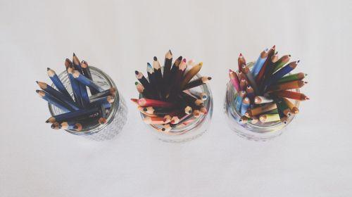 art supplies pencils top view