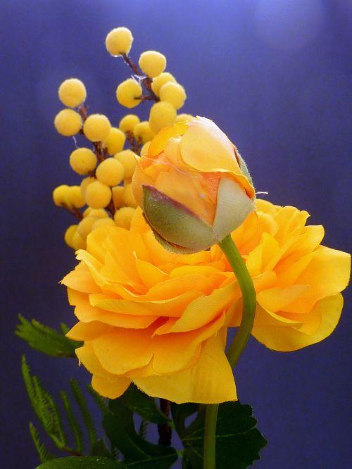 artificial flowers ranunculus yellow