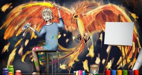 artist  the artist at work  draws