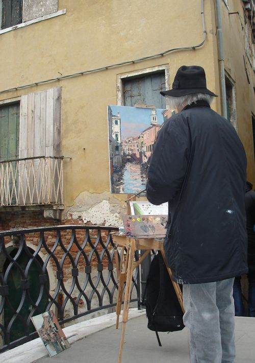 artist painting venice