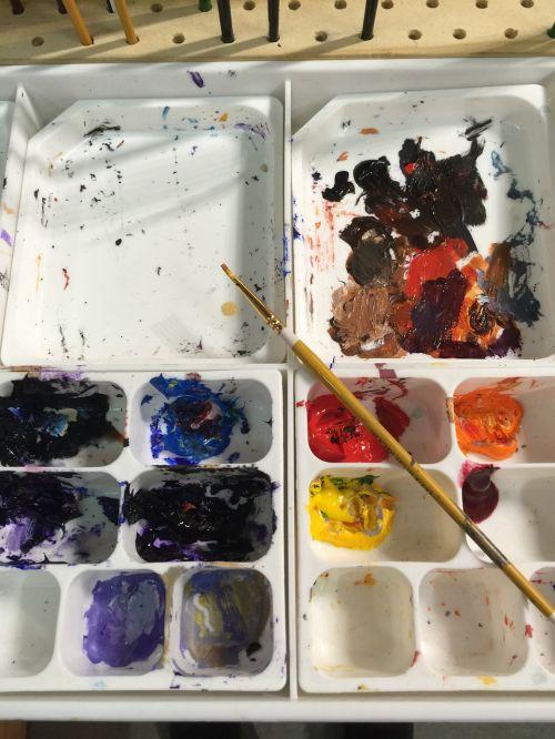 artist palette artist paint brush and paints