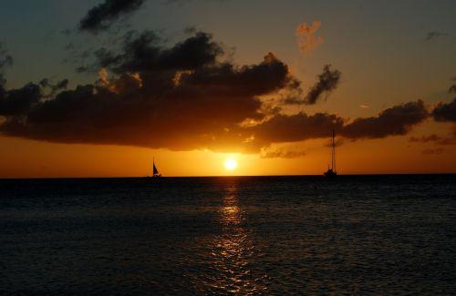 aruba sunset caribbean