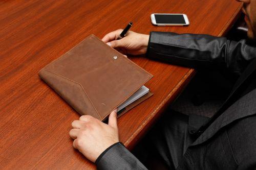 organizer brown leather executive