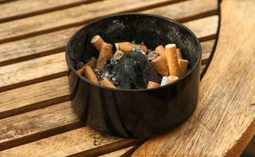 ashtray cigarettes ash
