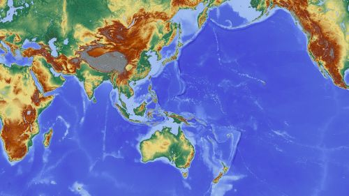 asija,Indija,Nepalas,australia,Indijos vandenynas,žemėlapis,reljefo žemėlapis,aukščio profilis,aukščio struktūra,spalva,kartografija,mercatoriaus projekcija,atspalvis,aukštumos žemėlapis,didelis reljefas,didelio reljefo žemėlapis,topografija,topografinis žemėlapis