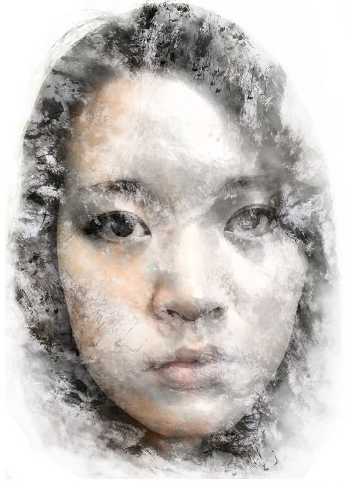 asian ink blot portrait