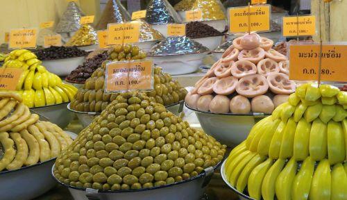 asian vegetables display olive