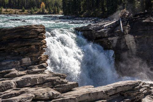athabasca falls waterfall canada