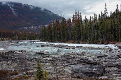athabasca falls  the athabasca river  canada