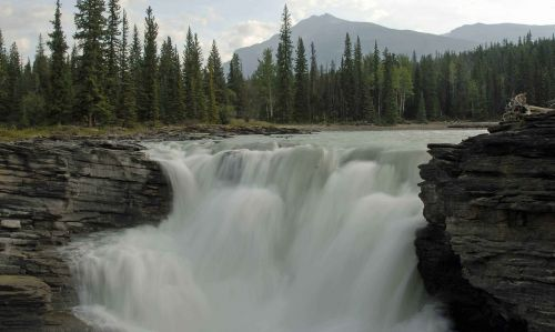 athabasca falls waterfall landscape