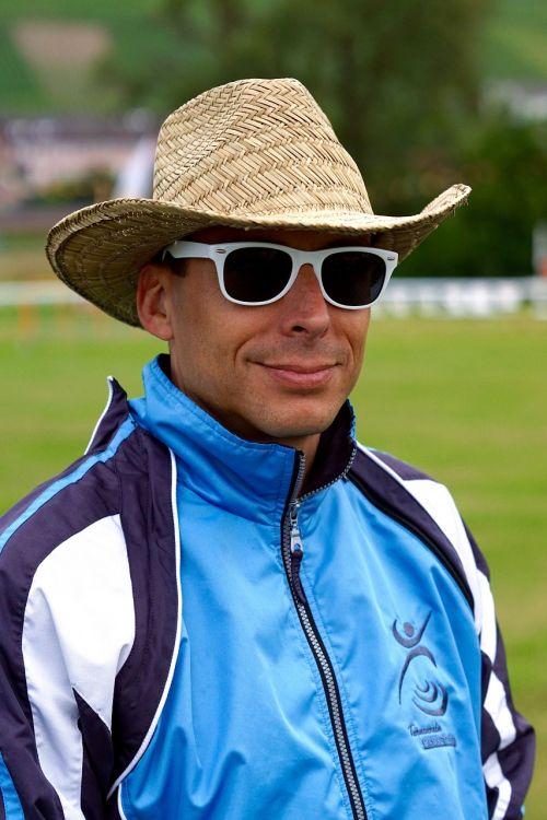 athletes hat sunglasses