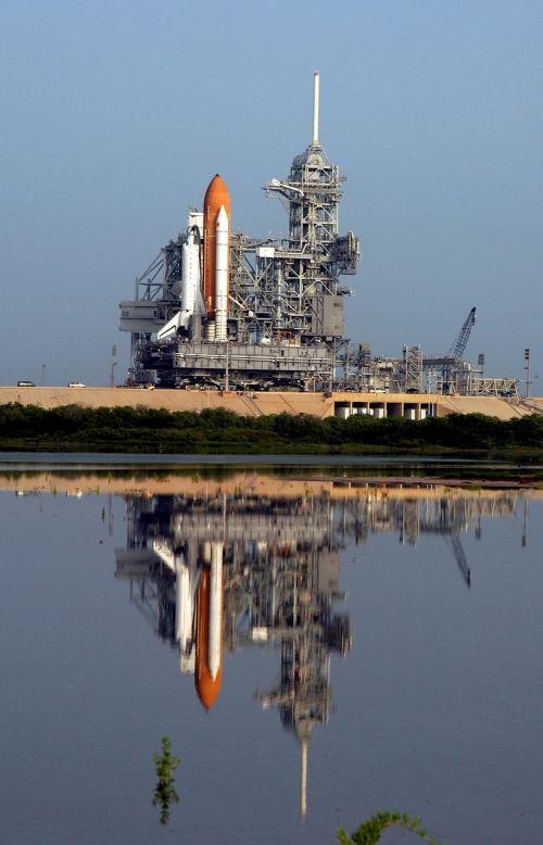 Atlantis erdvėlaivis, paleisti, misija, astronautai, išvynioti, raketos, erdvėlaivis, dangus, Orbita, tyrinėjimas, erdvėlaivis, skrydis, pakilkite, vanduo, atspindys, paleidimo aikštelė, Paruošimas