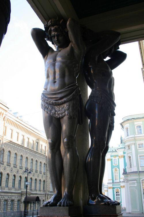 Atlas Figures In St Petersburg