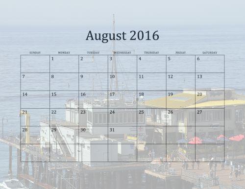 August 2016 Beach Calendar