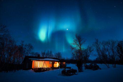 aurora borealis blue cabin