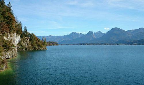 austria,ežeras,kraštovaizdis,vanduo,kalnai,gamta,Alpių,mažas ežeras,mėlynas,vandenys,žygių diena,Švarus,oras,ežeras wolfgang