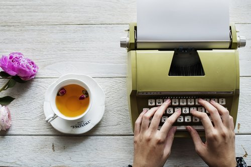 author  typewriter  caffeine