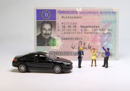 auto  driver's license  miniature figures