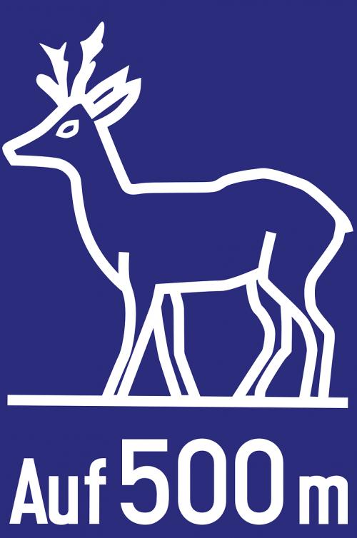 autobahn road sign deer crossing