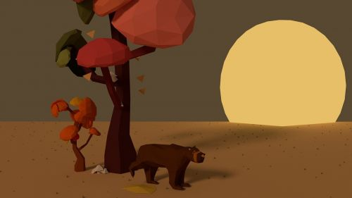autumn landscape bear