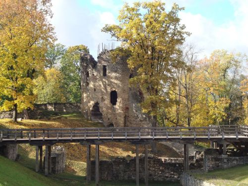 autumn cesis castle latvia