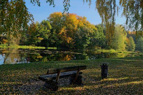 autumn bench park
