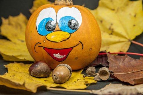 autumn  leaves  laughing pumpkin