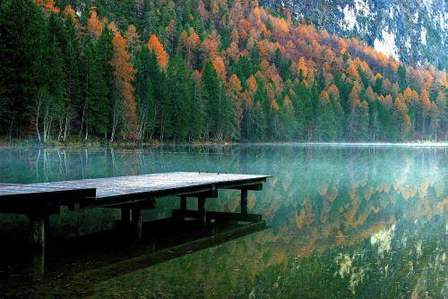 autumn river lake view