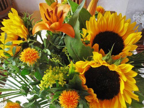 autumn bouquet autumn flowers sunflower