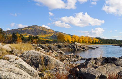 kritimas, akmenys, miškas, upė, dangus, kraštovaizdis, šviesus, rudens kraštovaizdis