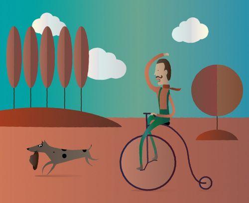 autumn walk sunny day cyclist