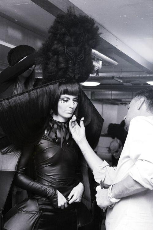 avant-garde hairstyle backstage