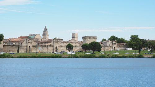 avignon,city,city view,city wall,river,rhône