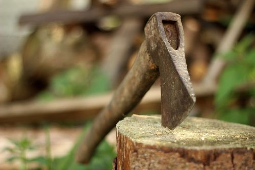 ax,axe,old,lumberjack,blade,background,log,chop,hatchet,block,work,tree,wood,metal,equipment,cut,handle,sawn timber,green,rusty,forest,wooden,steel,tool