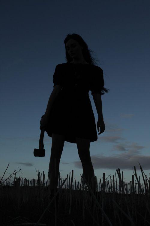 kirvis,žudikas,siluetas,Moteris,dusk,saulėlydis,tamsi,siaubas,žudikas,laukas,konceptualus
