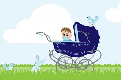 Baby Boy Vintage Stroller