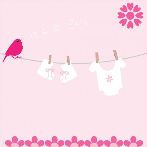Baby Girl Card Announcement