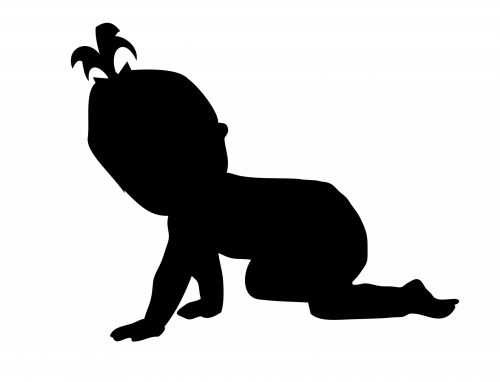 Baby Girl Crawling Silhouette