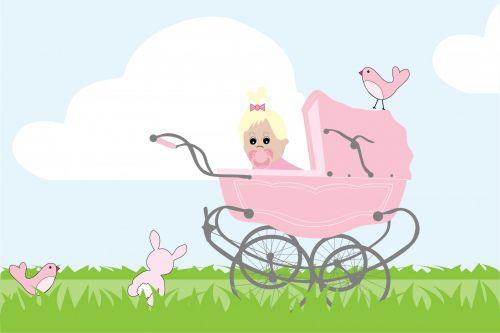 Baby Girl Vintage Stroller