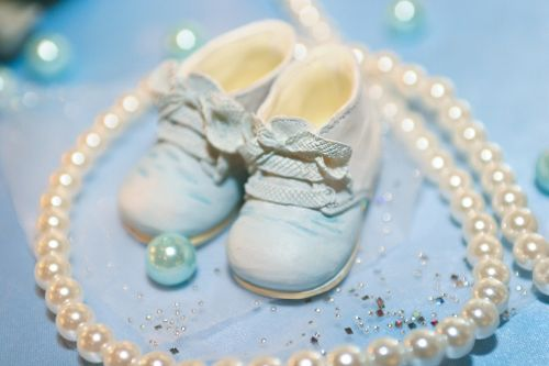 baby shoes cyan light blue pearl of great price