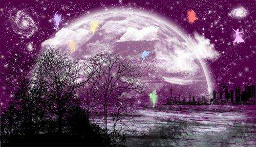background moon city