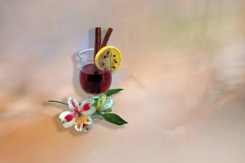 fonas, gėlė, natiurmortas, citrina, keptas vynas, stiklas, vynas, klirensas, kompozicija, be honoraro mokesčio