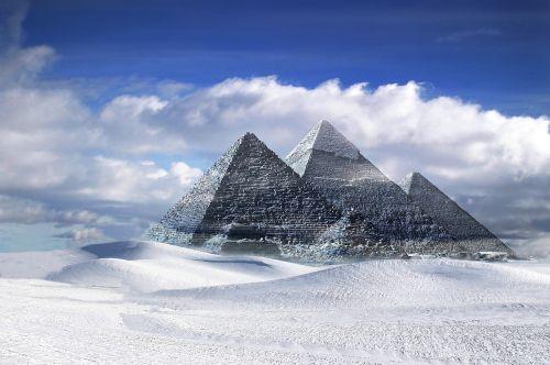 piramidės,gizeh,Egiptas,sniegas,kraštovaizdis,kūrybingas,debesuota dangaus,fantazija,klimatas,debesys,sirrealis,oras,mėlynas,pasaulinis atšilimas