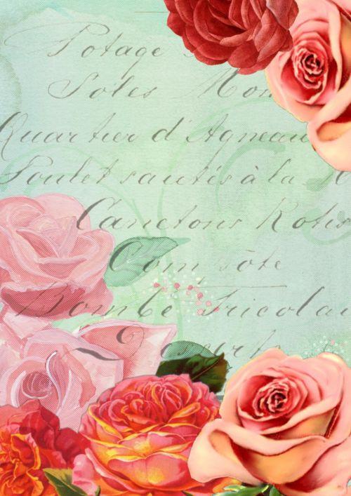 Background Scrapbook Romantic Rose