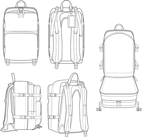backpack  fashion template  design template