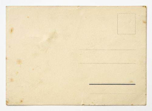 backside of a vintage postcard postcard card