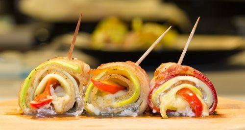 bacon rolls food tasty