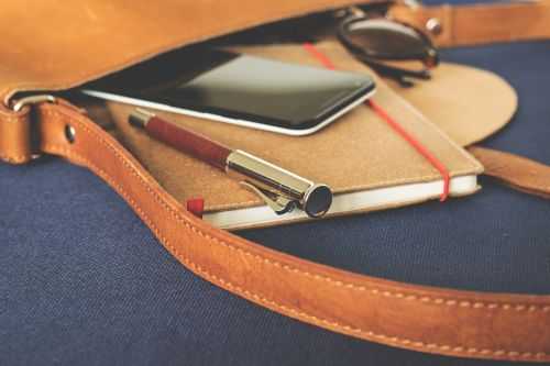 bag leather goods notebook